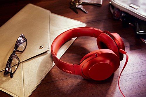 Sony MDR100AAP/R h.ear on Over-the-Ear Headphones Cinnabar Red