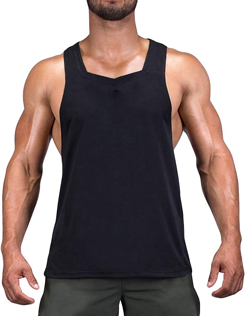 STORTO Mens Fit Fashion Muscle Cut Workout Solid Tank Tops Gym Bodybuilding Shirts