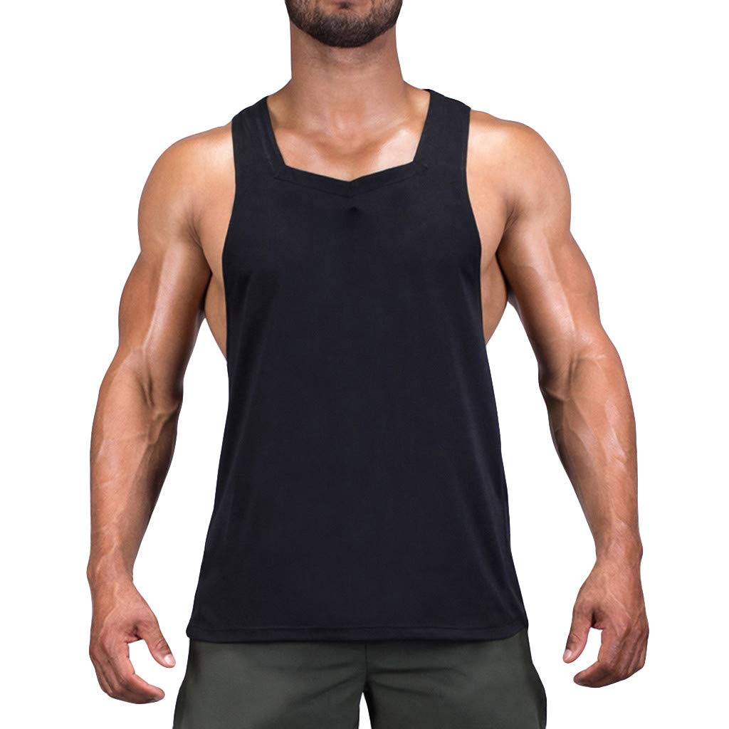 Men's Tank Top, Summer Casual Breathable Blouse Pure Muscle T-Shirts Vest for Sports Fitness Workout Black