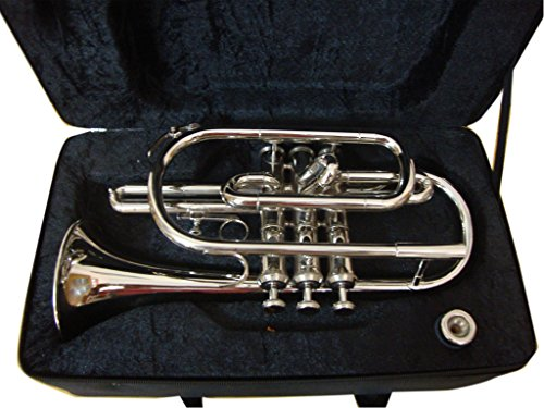 OSWAL Bb Flat Silver Nickel Cornet With Free Hard Case Mouthpiece