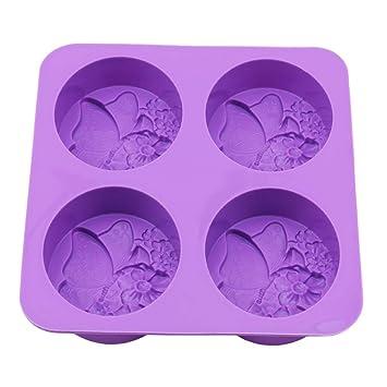 Flybloom Silikonformen 4 Löcher Schmetterling Form DIY Fondant Schokolade Sugarcraft Plätzchenform Kuchen Dekor Backen Werkze