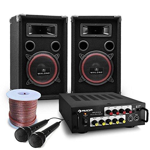Pack Sono DJ Complet de 7 pièces avec ampli, 2 enceintes, micros et câbles pour événements jusqu'à 500 personnes