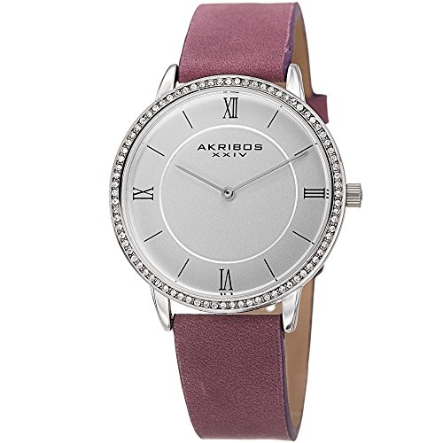 Akribos XXIV Women's Quartz Silver-Tone Case with Swarovski Crystal Accented Bezel and Silver-Tone Dial on Purple Genuine Leather Strap Watch AK924PU ()