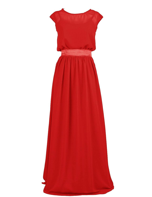 Dressystar Damen Chiffon Abendkleider Ballkleider Brautjungfernkleider mit Schleife
