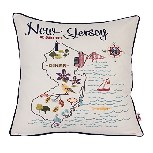 Queenie® - 1 Pc City Scene Series II Embroidery Cotton Linen Decorative Pillowcase Throw Pillow Case Cushion Cover 18 X 18 Inch (45 X 45 Cm) (1, New - City Gardens Jersey