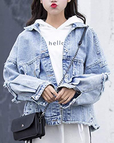 Autunno Als Chic Bild Jeans Giacca Cappotto Maniche Stile Elegante Primaverile Casual Tendenza Alla Donna Moda Lunghe Fidanzato Cute Fashion Coat Relaxed Bavero qBt1RpRO