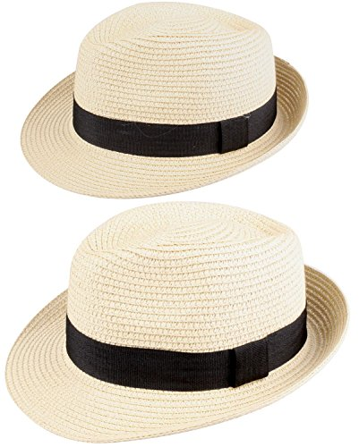 [WDSKY Child Hat Beige Fedora Sun Hat Mens Fedora Hats for Men Beige 2 Pcs] (Sailor Straw Hat)