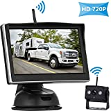 HD 720P Digital Wireless Backup Camera System with 5'' LCD Monitor for Trucks,Cars,Vans,Campers,Trailers Rear/Front View Camera with Super Night Vision IP69K Waterproof Guide Lines On/Off