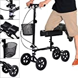 Giantex Steerable Foldable Knee Walker Roller Scooter Turning Brake Basket Drive Cart, Black