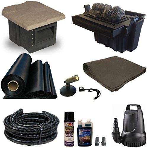 Half Off Ponds' XSH2 -15 ft x 15 ft Compact Pond Kit w/ 2,100 GPH Pump, 16 Inch Waterfall, & Serenity Skimmer
