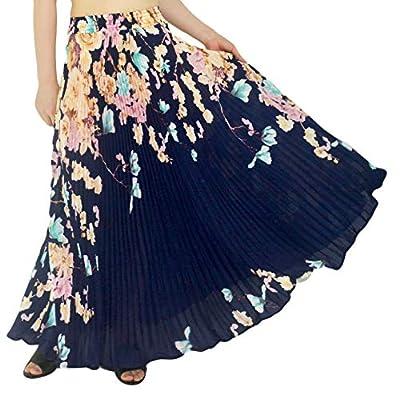 "YSJERA Womens Pleated Long Maxi Skirt - 35.4"" Chiffon Floral Vintage Bohemian Full Skirts"