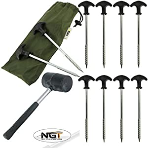 10 Bivvy Pegs In Case + Mallet With Steel Handle Carp Fishing Tackle Camping Tent Pegs