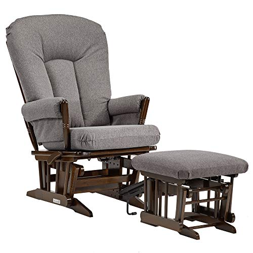 (Dutailier C26-82B-62-3128 Colonial Glider-Multi-Position Recline and Nursing Ottoman Combo, Dark Grey )