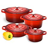 ProCook Cast Iron Casserole Set | 4 Piece | Graduated Red | Induction Casserole Dishes with Tough Enamel Coating