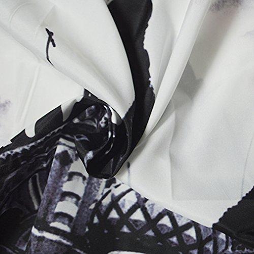 de Redondo de Blanco Vendimia del de Vestido la la Sin Honghu Mangas Verano Mujeres amp;negro17 Cuello las Impresión 8FIqB