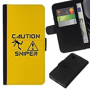 NEECELL GIFT forCITY // Billetera de cuero Caso Cubierta de protección Carcasa / Leather Wallet Case for LG Nexus 5 D820 D821 // Sniper Precaución