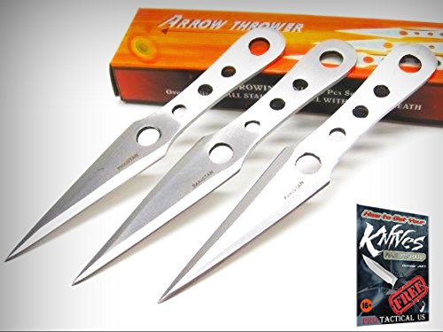 STAINLESS Steel ARROW Thrower Throwing Knives 3 Piece Knife Set + Sheath! PA3232 + free eBook by (Arrow Throwing Knife)