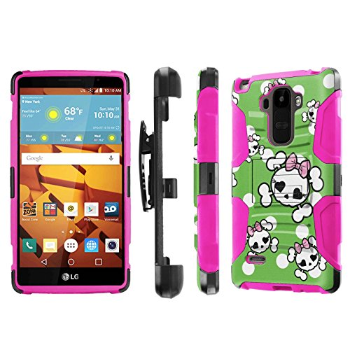 LG G Stylo [LS770 H631] Armor Case [NakedShield] [Black/Pink] Heavy Duty Armor [Holster with Kickstand] Phone Case - [White Green Cutie Skull] for LG G Stylo LS770 -  NakedShield for LG G Stylo, P-LGLS770-1E7-BKHP-CBT-N071