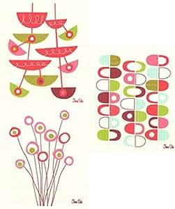 Swedish Dishcloths, Jenn Ski's Mid-Century Modern Designs - Set of 3 Pink-Red