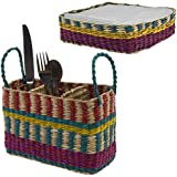 Tag 2pc Utensil Caddy & Napkin Holder Set Table Silverware Organizer Seagrass Basket