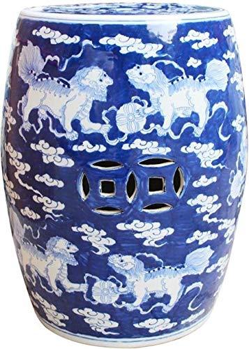 EuroLuxHome Garden Stool White Lion Blue Black Porcelain Polished Nickel Ceramic New
