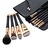 Fancii Professional Makeup Brush Collection, 11 pcs Set High End Cosmetic Brush, Cruelty Free Synthetic Bristles for Foundation Blending Powder Blush Eye Shadow, Travel Leather Clutch, Rose Gold