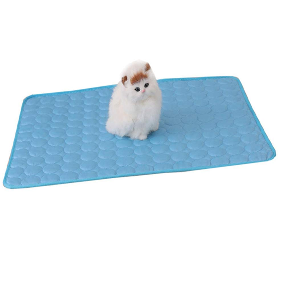 bluee Medium bluee Medium Dog Cooling Bed Mat, Cats Self Cooling Pad Summer Sleeping Cool Ice Silk mat, Non Sticking Non-Toxic Breathable Washable Pet Cooling Mat for Pet,bluee,M
