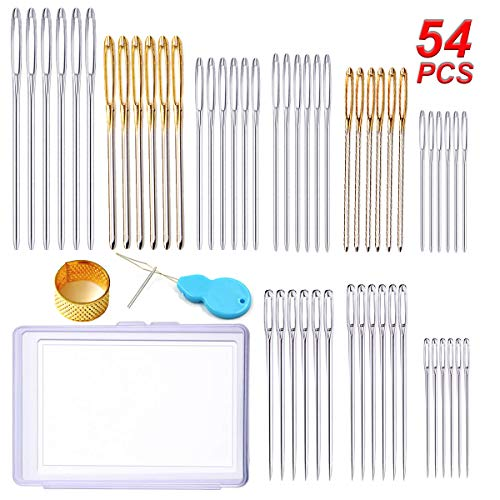 Y-Axis 54 Pcs Assorted Large Eye Stitching Needles Hand Sewing Needles Including Sharp & Blunt Needles with Storage Box