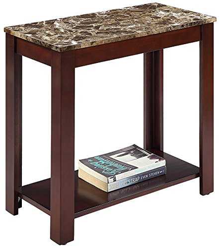 Advanced Traditional 24''H End Table with Faux Marble Top and Espresso Finish Wood (Espresso Top Marble)