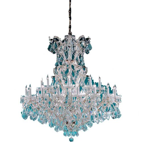 Crystorama Lighting 4424-CH-CL-SAQ Chandelier with Swarovski Spectra Crystals, Polished Chrome