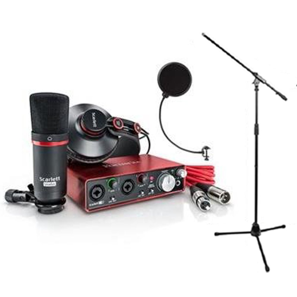 Focusrite SCARLETT Studio Pack w/CM25 Microphone, Headphones, 2i2, Code for Software Bundle Mic Cable, Boom Stand, and Pop Filter SCARLETT Studio Pack BUNDLE