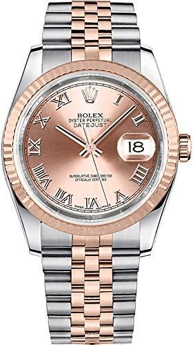 (Rolex Datejust 36 Pink Roman Numeral Dial Everose Rolesor Jubilee Bracelet Watch Ref. 116231)