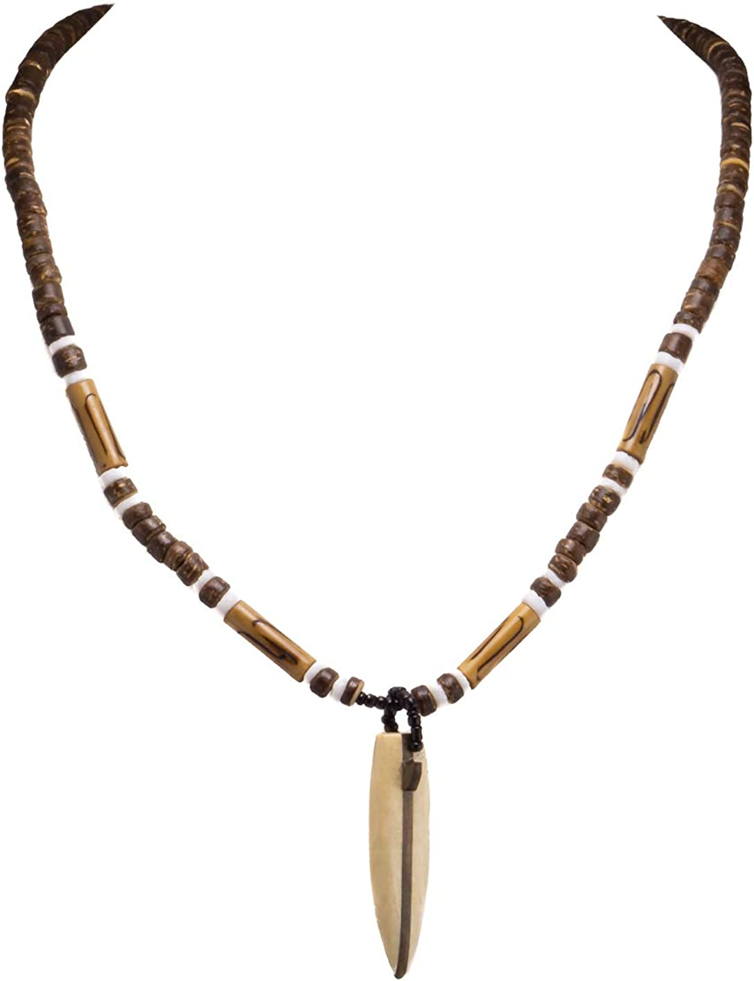 BlueRica Wood Surfboard Pendant on Coconut Beads Necklace