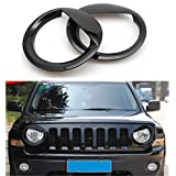 Black Headlight Trim Head Lamps Cover Ring Trim For Jeep Patriot (Black Angry Bird Style 2pcs)