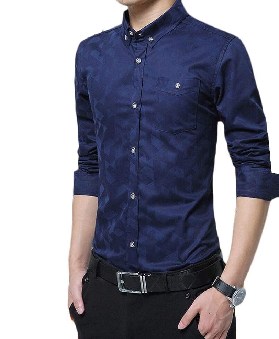 Hokny TD Mens Winter Warm Print Fleece Slim Thicken Button Down Shirts