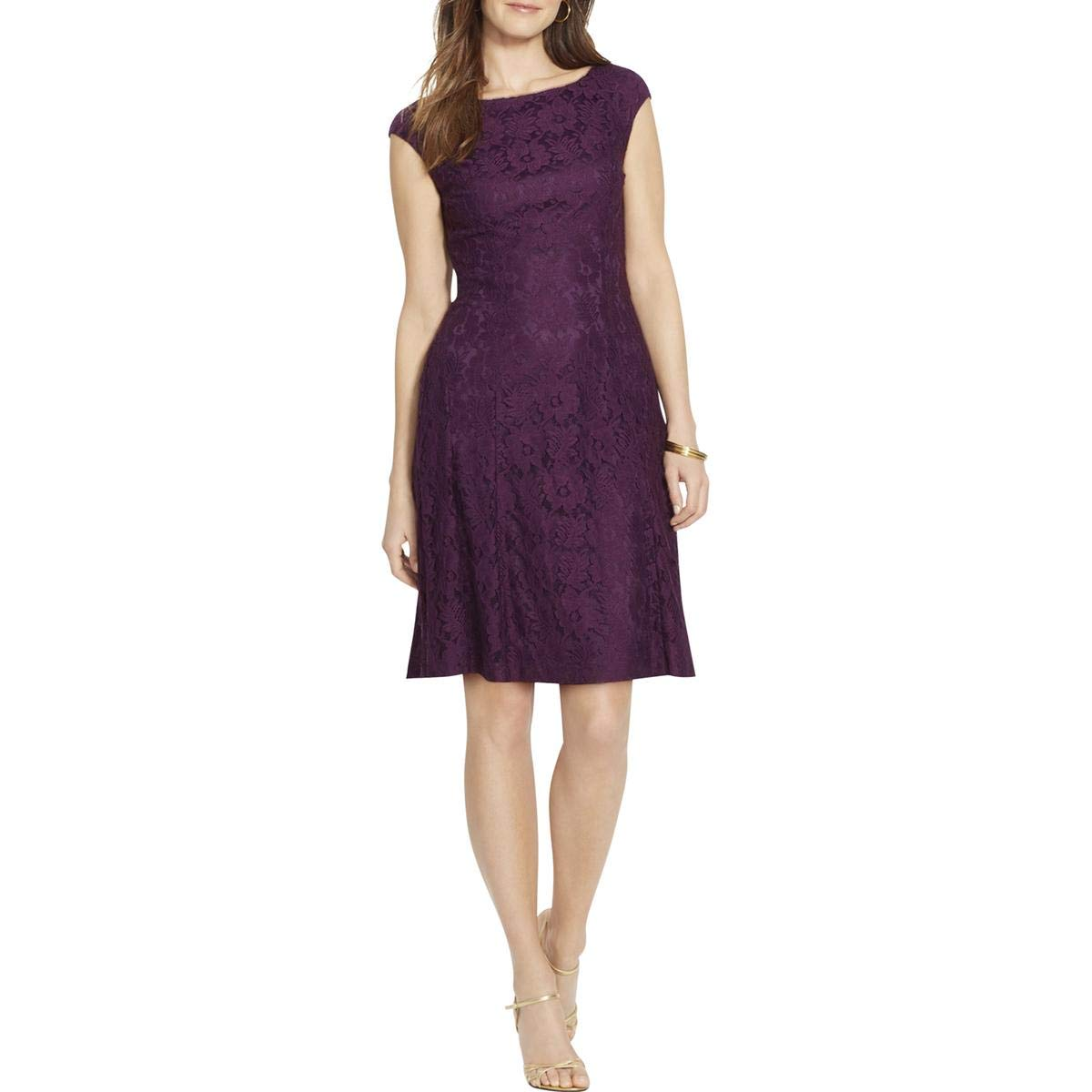 750ee0d7 American Living $99 Womens New 1253 Purple Floral Lace A-Line Dress 2 B+B  at Amazon Women's Clothing store: