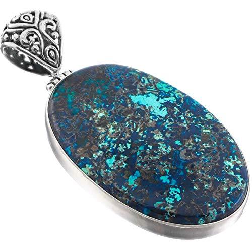 2 3/8'' Handmade Malachite in Chrysocolla Healing 925 Sterling Silver Pendant YE-3061
