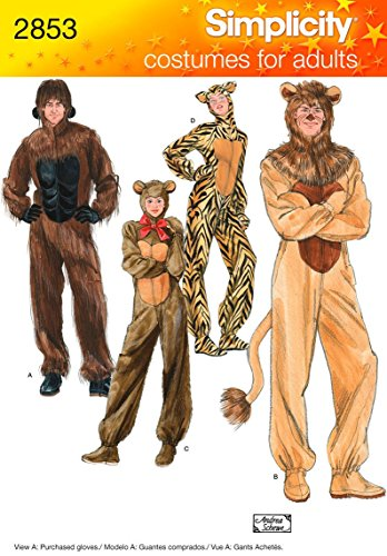 Halloween Cat Silhouette Pattern (Simplicity 2853 Gorilla, Lion, bear and Cat Sewing Pattern for Adult Men and Women by Andrea Schewe Sizes)