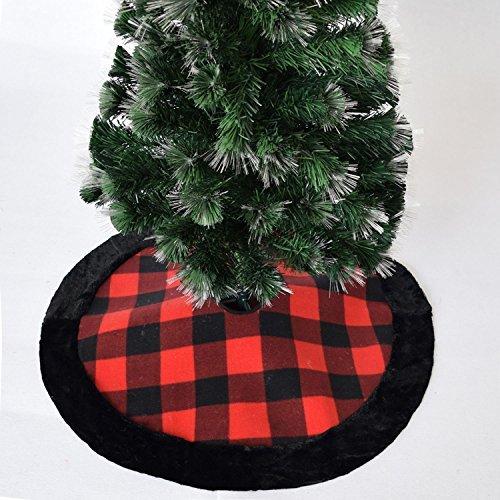 Gireshome 36 Buffalo Check Plaid Christmas Tree Skirt with Black Faux Fur Border Xmas Tree Decoration Merry Christmas Supplies Christmas Decoration