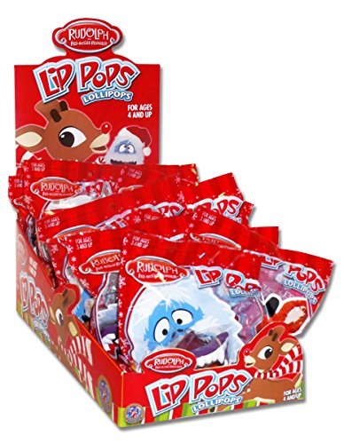 Rudolph The Red-Nosed Reindeer Christmas Lip Pop Lollipops (Pack of 12)