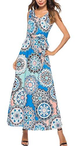Jaycargogo Womens Floral Réservoir Sans Manches D'impression Haut Maxi Imprimé Floral Robe Longue 5