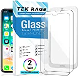 iPhone X Screen Protector - Tek Rage (Clear, 2 Packs) Anti-Shatter Tempered Glass Protectors with Guide Frame for Apple iPhoneX/10 [3D Touch Accurate] Anti Impact Case Friendly