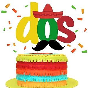 Fiesta Cake Topper Taco Twosday Cake Decor Uno/Cinco De Mayo/Dos/Mustache/Sombrero/Cactus Themed 2nd Birthday Party Supplies DecorationsDos Cake Topper
