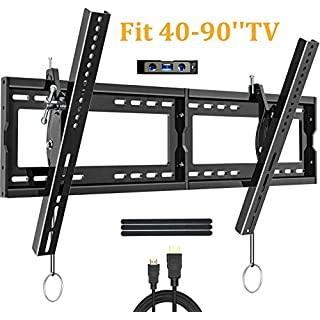 JUSTSTONE Tilt TV Wall Mount Bracket for Most 32-55 Inch Flat Screen TVs with 1.49'' Low Profile Max VESA 400x400mm and Holds up to 66 lbs