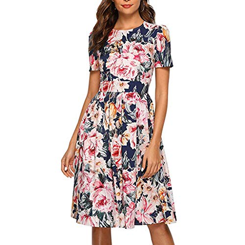 Women's Dress Summer Dress Floral Print Dress Vintage Evening Dress Short Sleeve Mini Dress (L, Navy)