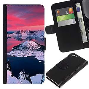 YiPhone /// Tirón de la caja Cartera de cuero con ranuras para tarjetas - Alaska Aurora Borealis - Apple Iphone 6