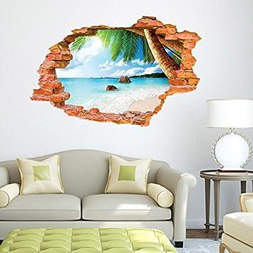 Wandtattoo Wandsticker Kinderzimmer Panorama Ausblick Strand Meer