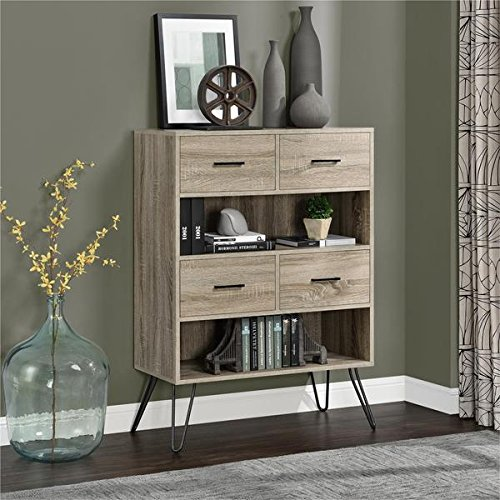 Ameriwood Metal Bookcase - Ameriwood Home Landon Sonoma Oak/ Gunmetal Grey Bookcase with Bins