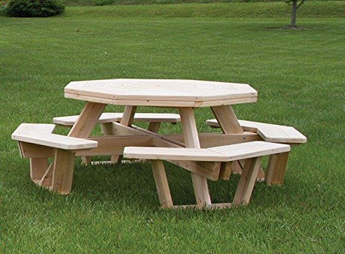 Amazoncom White Cedar Octagon Walk In Picnic Table Garden - One sided picnic table