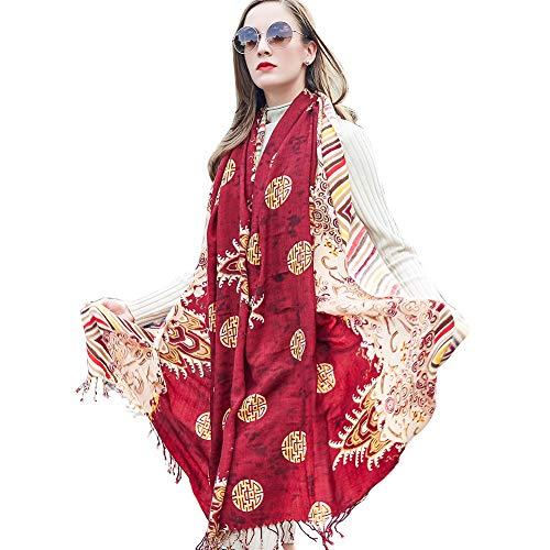 (DANA XU Pure Wool Women Scarf Large Size Ponchos Pashmina Shawls and Wraps (Brown))